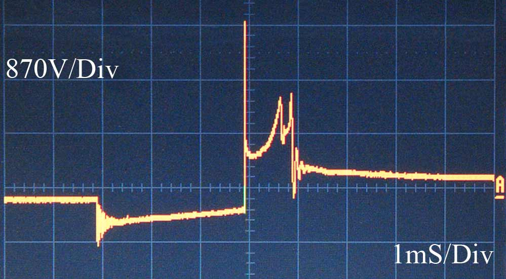 An oscilloscope trace showing the secondary ignition voltage for an abnormal burnline